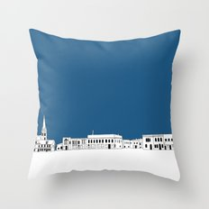 Whitewater Wisconsin Cityscape Illustration Cartoon Throw Pillow