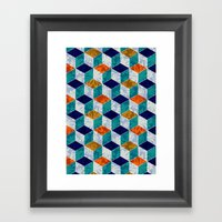 Cube Floral Framed Art Print