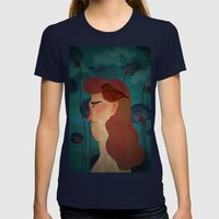 Lady With Bird Womens Fitted Tee Navy SMALL