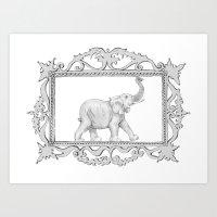 grey frame with elephant Art Print