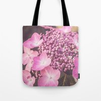 Botanical Pink Rose Purple Lace Cap Hydrangea Flower Tote Bag