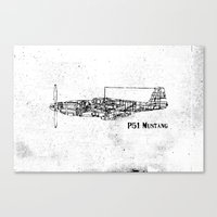 North American P51 Mustang (black) Canvas Print