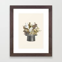 Rabbits in the hat Framed Art Print