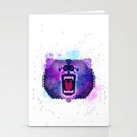 Lilac Geometric Bear  Stationery Cards