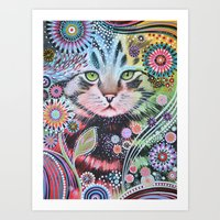 Abstract Cat Art - Penny Art Print