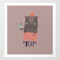 Big Bear and Bluebird Pink Art Print