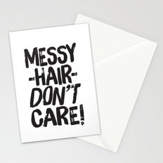 Messy Hair Don't Care Stationery Cards