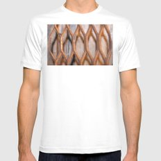 Rusted Steel Faded Wood Mens Fitted Tee SMALL White