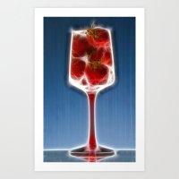 Fiery Strawberries  Art Print