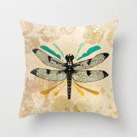 Autumn dragonfly Throw Pillow