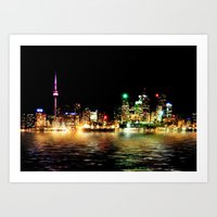Toronto Skyline At Night From Polson St Reflection Art Print