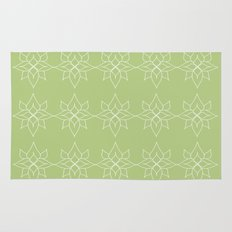 Green Floral Pattern One Rug