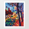 Rushing From Downtown  Art Print