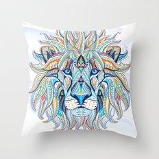Blue Ethnic Lion Throw Pillow