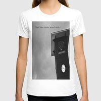B&W Clock Tower Womens Fitted Tee White SMALL