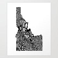 Typographic Idaho Art Print