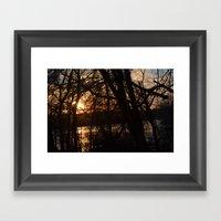 Winter Sun and River Framed Art Print