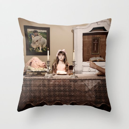 """You're eating him"" Throw Pillow"