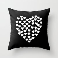 Hearts on Heart White on Black Throw Pillow