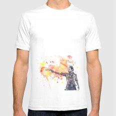 Portrait of Rick Grimes from The Walking Dead Mens Fitted Tee White SMALL