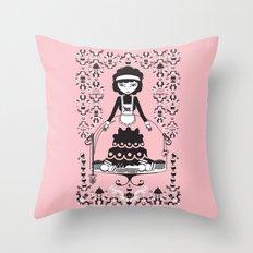 Lady Cake Throw Pillow