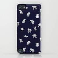 iPod Touch Cases featuring Indian Baby Elephants in Navy by Estelle F