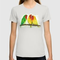 Lovebirds Womens Fitted Tee Silver SMALL