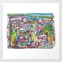 Doodle Owl Village 2 Art Print