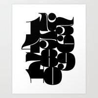 Numbers Black Art Print