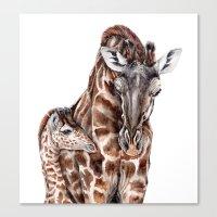 Giraffe With Baby Giraff… Canvas Print