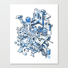 Small City - Blue Canvas Print