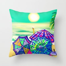Sea Glass Cheers! Throw Pillow
