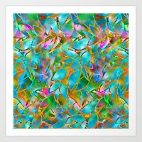 Floral Abstract Stained … Art Print