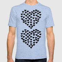 Hearts Heart X2 Black Mens Fitted Tee Tri-Blue SMALL