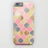 Silver Grey, Soft Pink, Wood & Gold Moroccan Pattern iPhone 6 Slim Case
