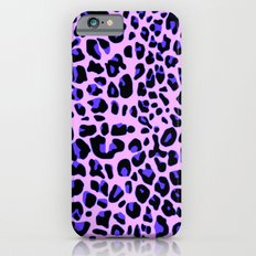 Blue and Black Leopard Print in Soft Pink Slim Case iPhone 6s