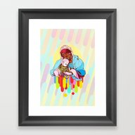 Framed Art Print featuring Mother And Child by Maxime Roy