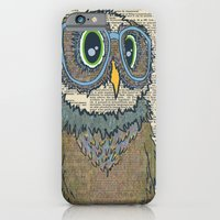 iPhone Cases featuring Owl wearing glasses by Sara Robish