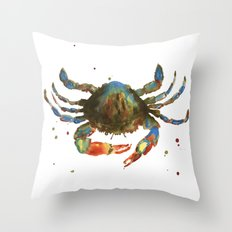 Crab art, coastal art, watercolor crab, crab pillow, beach house pillow Throw Pillow