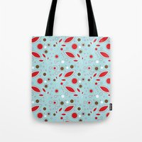 Retro Blue And Red Patte… Tote Bag