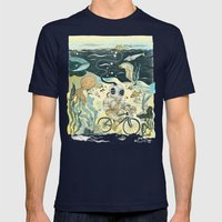 Cycling in the Deep Mens Fitted Tee Navy SMALL