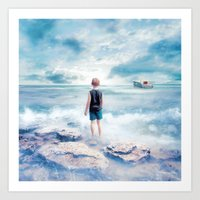 Waiting at the water's edge Art Print
