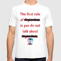 The First Rule of Fight Club... Mens Fitted Tee White SMALL