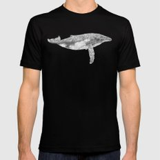 A Humpback Whale SMALL Black Mens Fitted Tee