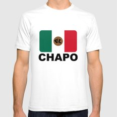 El Chapo Mexican flag Mens Fitted Tee SMALL White