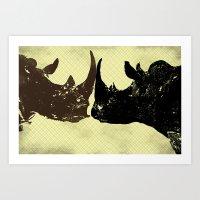 Bull Rhinos Art Print
