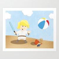 SW Kids - Luke At The Be… Art Print