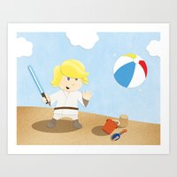 SW Kids - Luke At The Be… Art Print