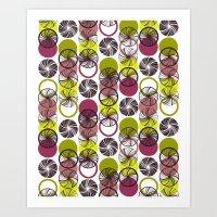 Black Border Abstract Circles Art Print
