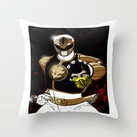 White Ranger Vs. Scorpion Throw Pillow